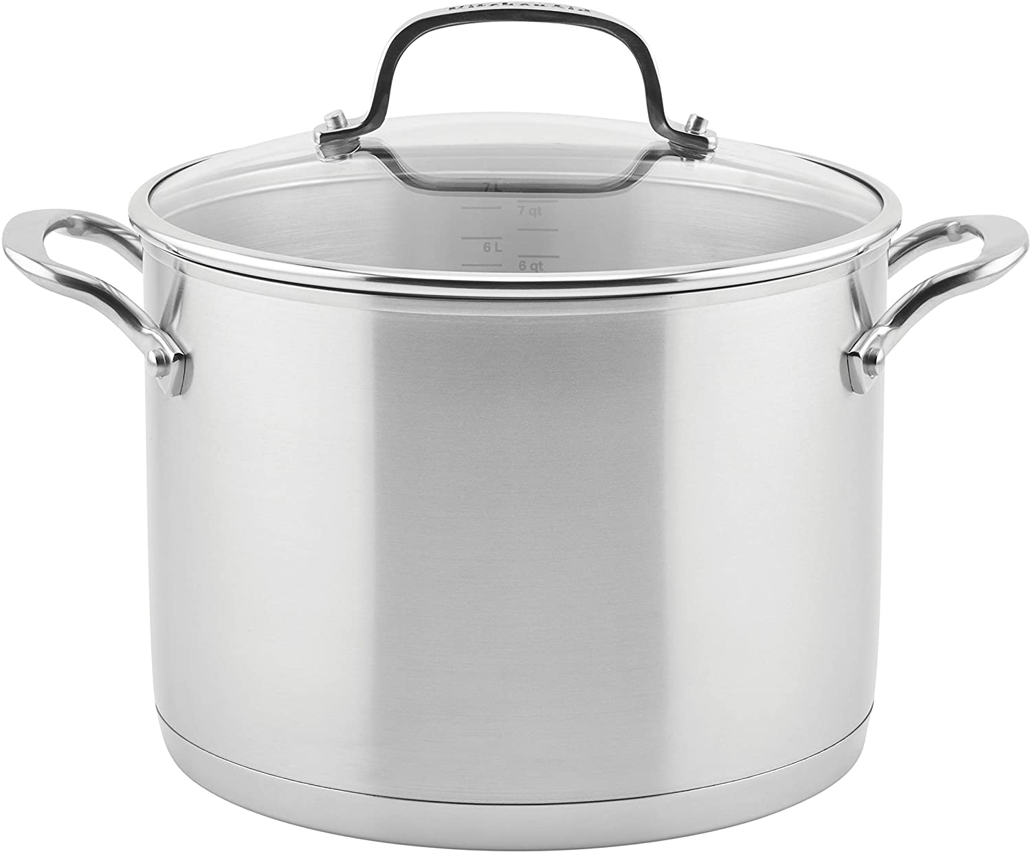 KitchenAid 3-Ply Base Brushed Stainless Steel Stock Pot/Stockpot with Lid, 8 Quart