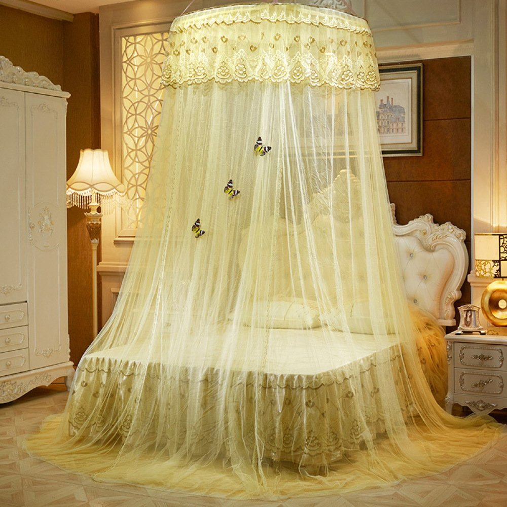 Lustar Court Style Mosquito Net Bed Canopy for Children Fly Insect Protection Indoor Decorative Height 270cm Top Diameter 1.2m for 1-2m Bed,Yellow