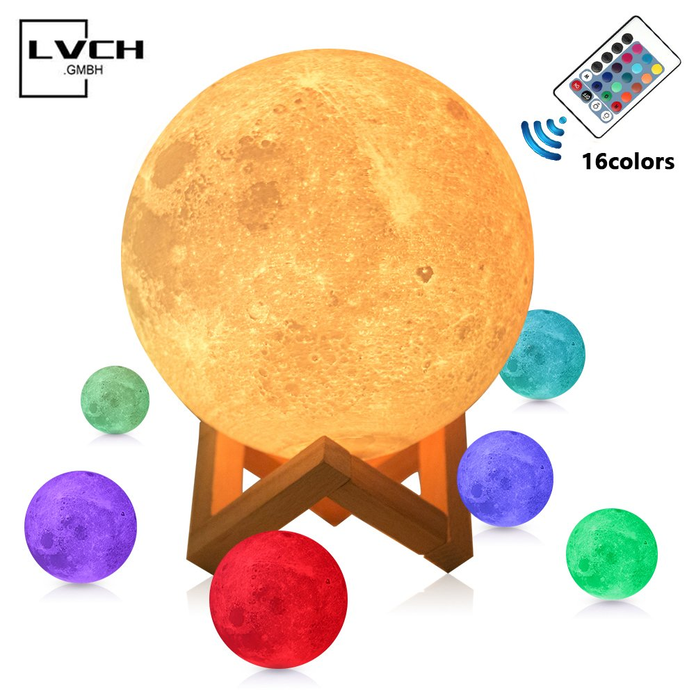MULTAGFY Moon Lamp Night Light Large 3D Printing Moon Light Touch LED Lamp Brightness USB Lamps Dimmable Gift for Women Kids 16 Colors Remote&Touch Control 5.9 Inch Hellum by MULTAGFY