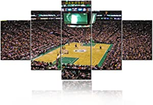 Large Pictures for Living Room 5 Panel Canvas TD Garden Arena Stadium Paintings NBA All Star - Boston Celtics Wall Art Home Decor Giclee Wooden Framed Gallery-Wrapped Ready to Hang - 60''Wx32''H