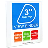 "3 Ring Binder, 3"" Slant D-Rings, White, Clear View, Pockets"
