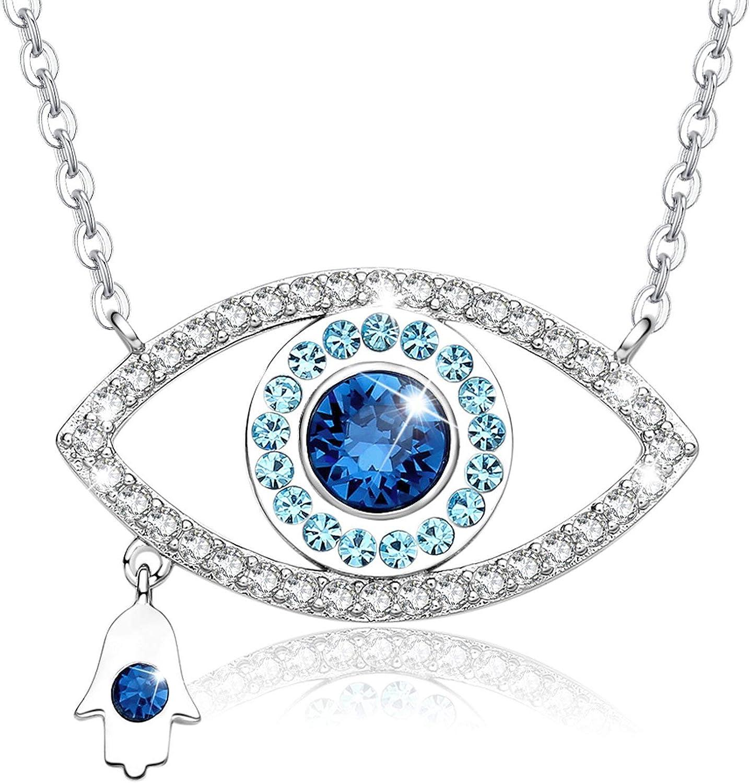 MEGA CREATIVE JEWELRY Collier pour Femme avec Cristaux de Swarovski Forme de Oeil Main Hamsa Pendentif Bleu
