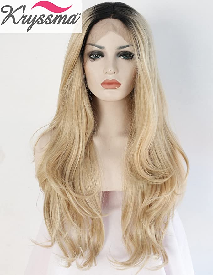 Kryssma Natural Looking Ombre Blonde Wavy Dark Roots Long Synthetic Hair Lace Front Wigs for Women Heat OK Half Hand Tied Wig 24 Inches: Amazon.es: Belleza