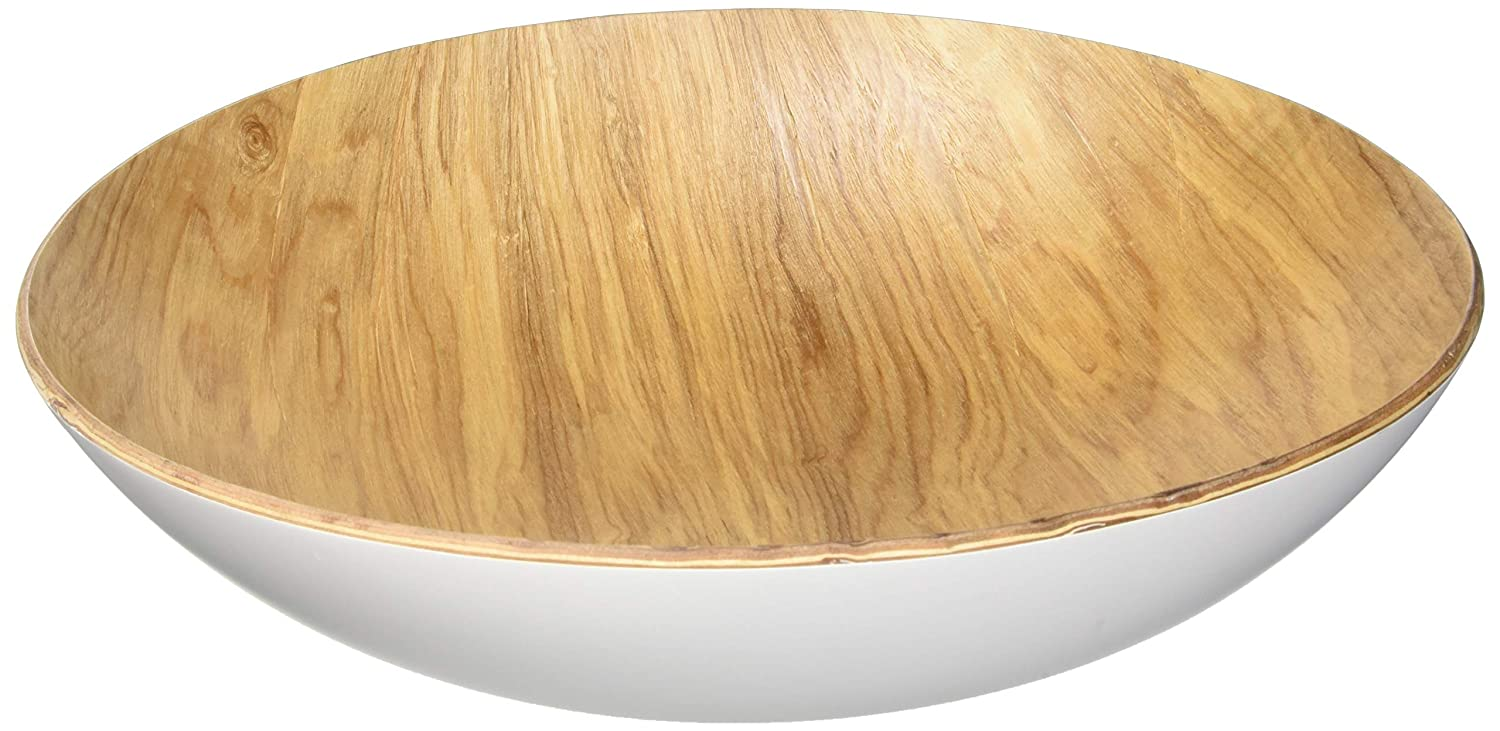 A'Domo PV-LIV-1251 Point-Virgule Round Serving Tray Color of Wood and White Ø 32Cm H 7.5Cm, Multiplex, Brown