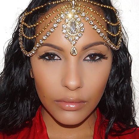 Oro Diamante Kundan Matha Patti boda novia diosa Bohemian Boho de la Reina cabeza cadena pelo joyas para la cabeza: Amazon.es: Juguetes y juegos