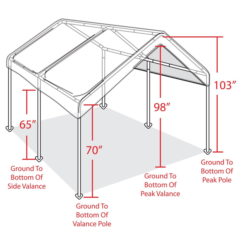 Caravan Canopy 10' X 20' Domain Carport Garage with Sidewall Enclosure Kit