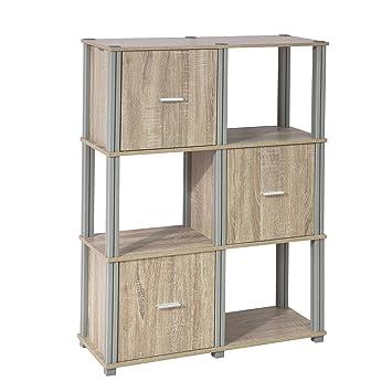 SoBuy FRG223 N Regal Bücherregal Raumteiler Mit 6 Fächern,  Aufbewahrungsregal Mit 3 Türen,