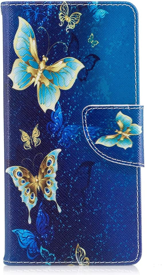 WIWJ Wallet Phone Case Huawei P9 Lite Painted Pattern PU Leather Case Flip Cover with Card Holder Stand Shockproof Protective Shell Case for Huawei P9 Lite-Yellow Butterfly