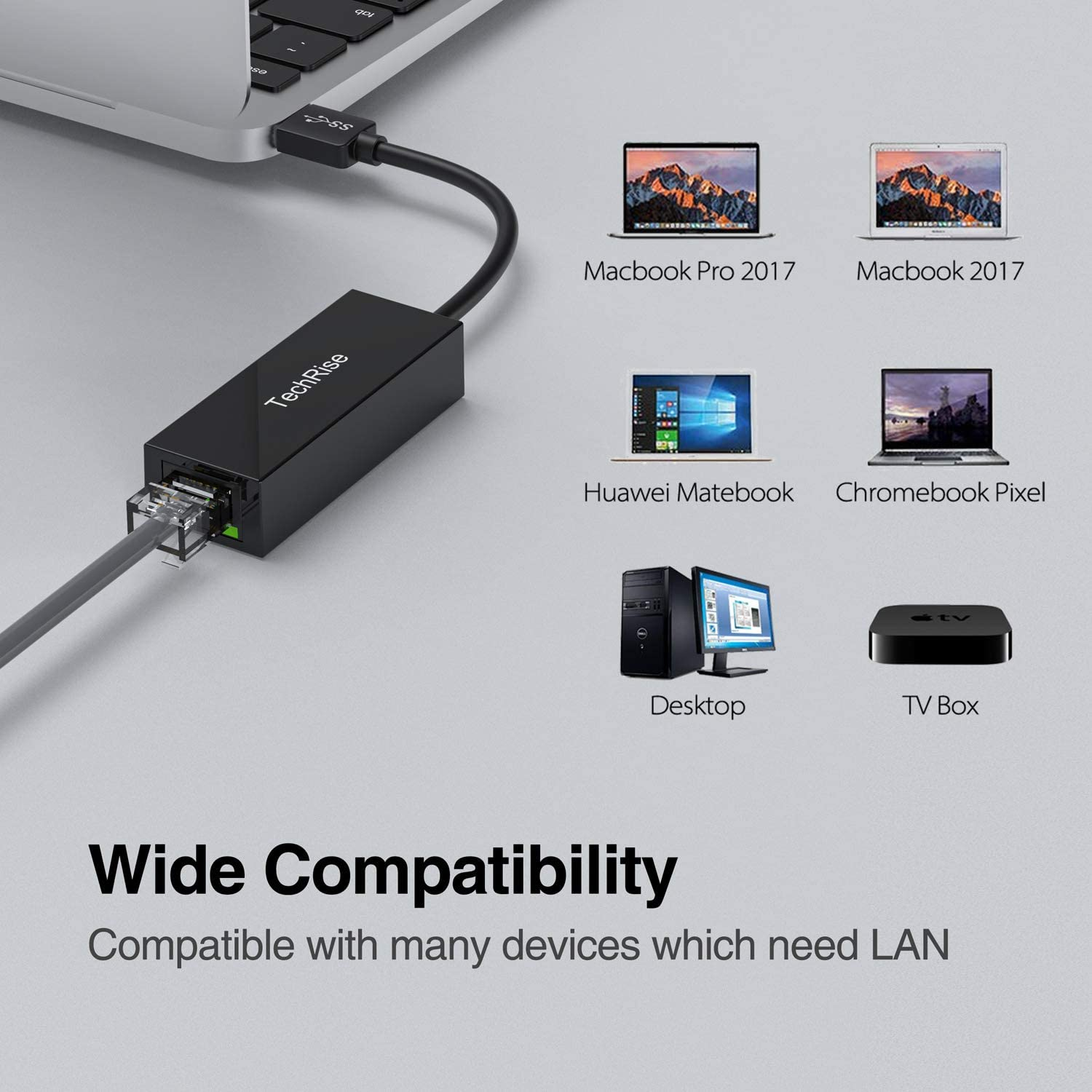 Windows 10//8.1//8//7//XP//Vista Linux TechRise Network Adapter USB 3.0 to Ethernet RJ45 LAN Gigabit Adapter for 10//100//1000 Mbps USB Ethernet Adapter Compatible with Mac OS X Chrome OS