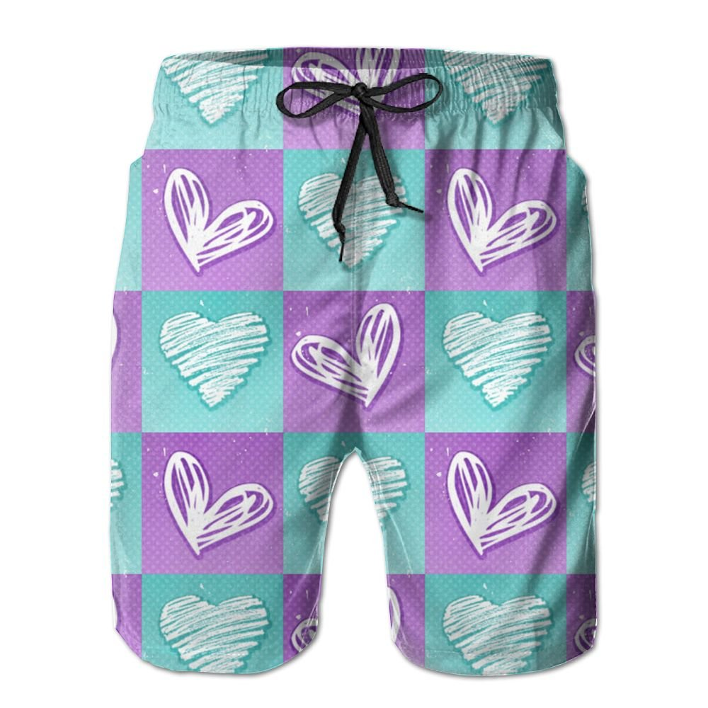 Mens Love Square Summer Holiday Quick-Drying Swim Trunks Beach Shorts Board Shorts