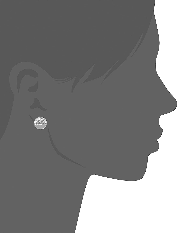 T Tahari Half Pave Mini Disc Buttoned Ear Stud Earrings