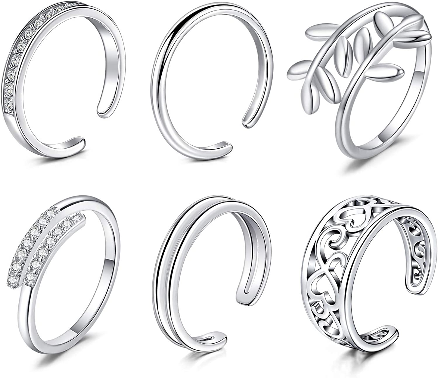 Longita Adjustable Silver Toe Rings for Women Stainless Steel Knuckle Tail Ring Simple Open Band Flower Diamond Fingers Joint Hypoallergenic Sandals Foot Jewelry