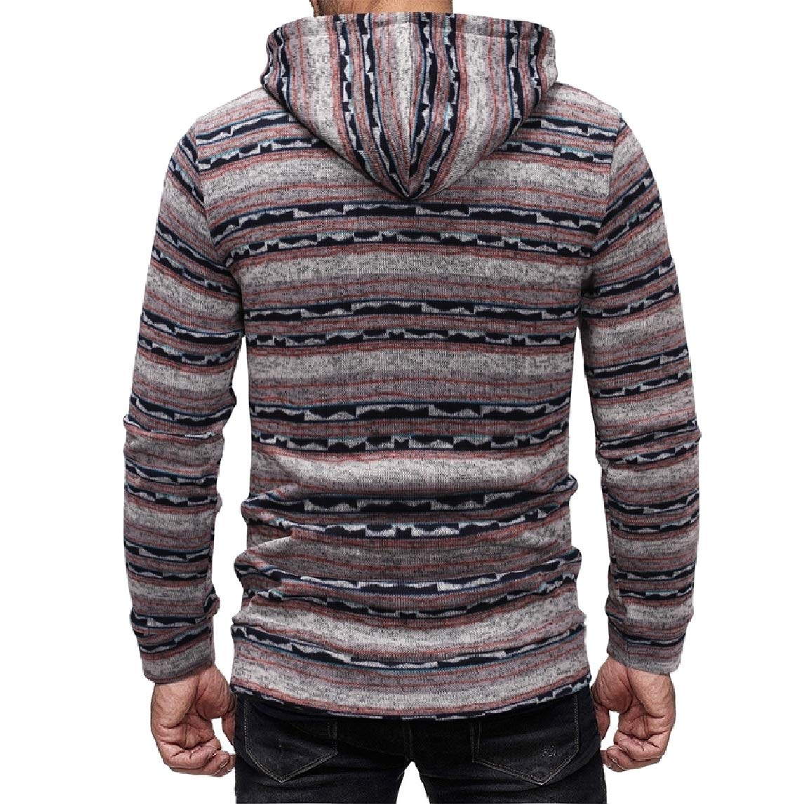 Mfasica Men Stripe Casual Activewear Long Sleeve Thickening Pullover Sweatshirt