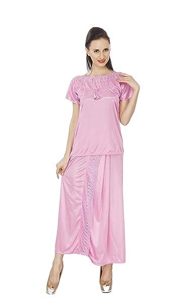 Pede Milan Women s Satin Lungi Style Nightwear (PM-2PC-03-Pink-Lungi ... 7da52ffb7