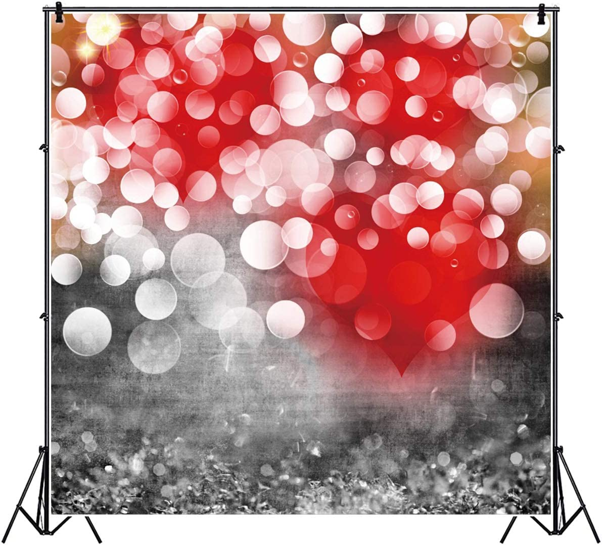 7x10 FT Vinyl Photography Backdrop,Heart Pearl Necklace Design Vintage Accessory Love Valentines Celebrating Artwork Background for Child Baby Shower Photo Studio Prop Photobooth Photoshoot