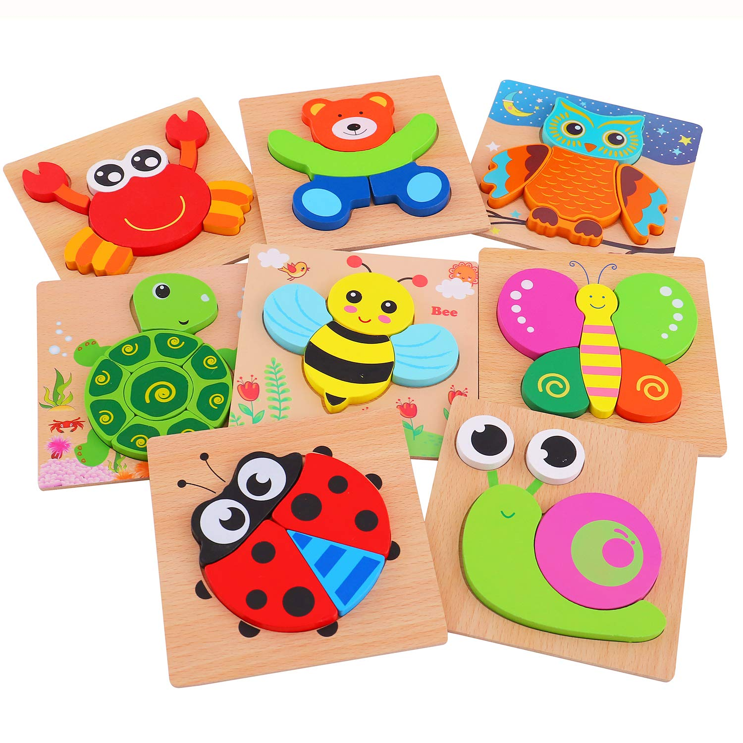 AOLIGE Wooden Jigsaw Puzzles Animal Educational Toys for Toddlers 1 2 3 Years Old Pack of 8 by AOLIGE