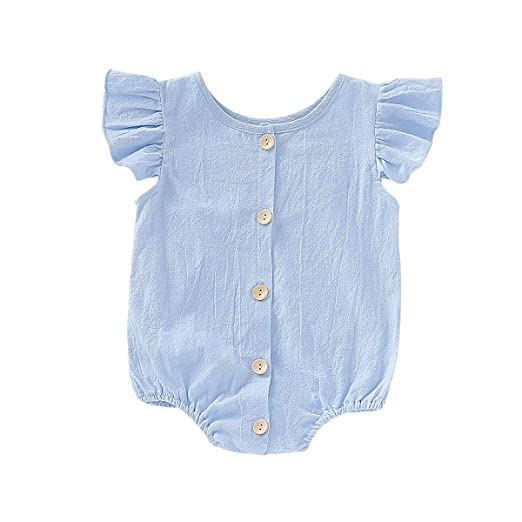 9d44946ce WALLARENEAR Newborn Infant Toddler Baby Girls Ruffle Short Sleeve Romper  Bodysuit Jumpsuit Cute Summer Outfit Clothes