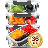 [5 Packs]Glass Meal Prep Containers 3 Compartment with Lids, Glass Lunch Containers,Food Prep Lunch Box,Bento Box,BPA-Free, Microwave, Oven, Freezer, Dishwasher Safe (36 oz) (Color: 5 Packs)