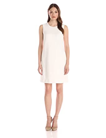Tommy Hilfiger Women's Textured Knit Sleeveless Shift Dress, Ivory, 10