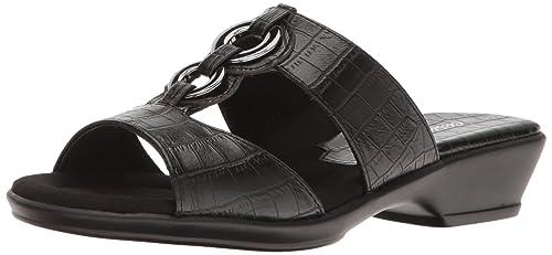 Easy Street Women's Fiery Slide Sandal, Black Crocodile, ...