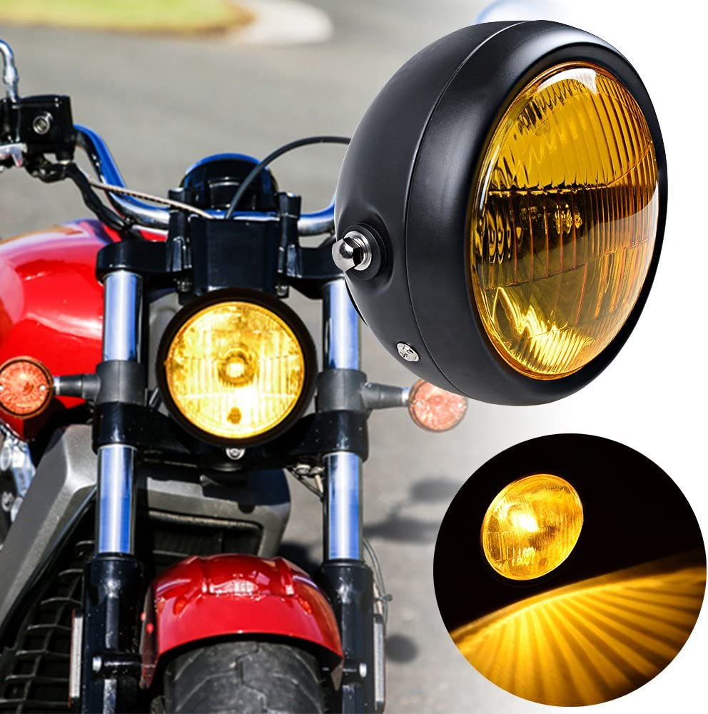 35mm-43mm Headlamp Mount Brackets Set 6-1//2 Round Amber Lens Headlight Metal Mesh Grille Cover