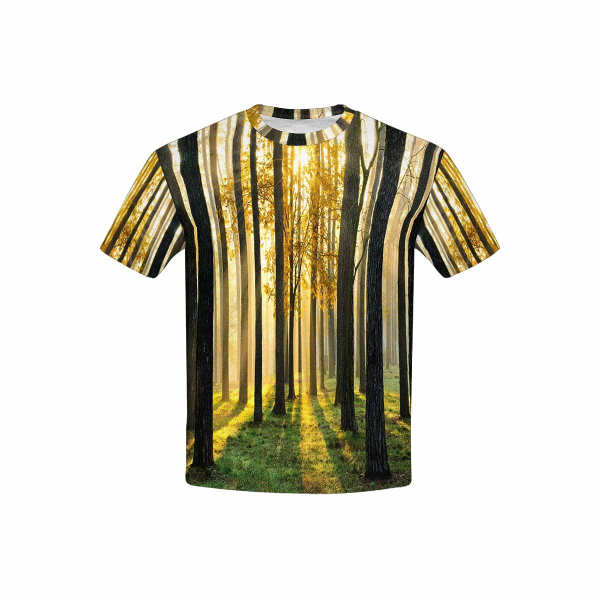 INTERESTPRINT Forest with Sun Rays and Shadows Kids T-Shirt XS-XL