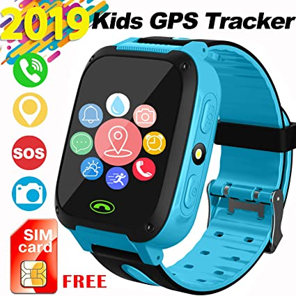 Kids Smartwatch with SIM Card, Smart Watch Phone for Kids with GPS Tracker SOS Flashlight Alarm Clock Security Zone Voice Chat Compatible with 2G ...