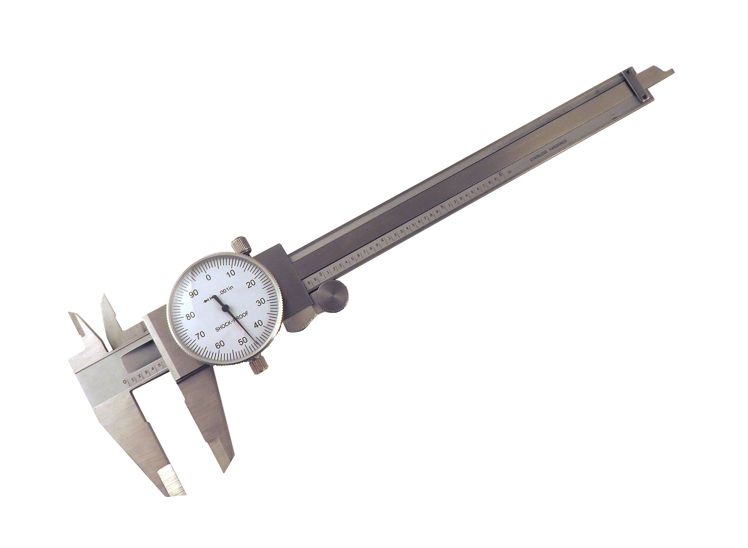 6 '' SAE Dial Calipers Accurate to 0.001'' per 6'' Hardened Stainless Steel for Inside, Outside, Step and Depth Measurements SAEDC-6