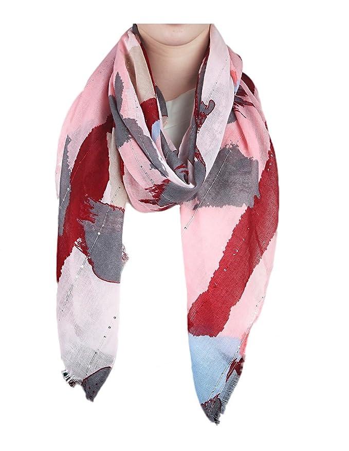18aada9152c350 Gil SSC XXL Tuch Schal Halstuch Stola Damen Schultertuch Tücher Frühjahr  Sommer 2018 (Batik Blüten Grau Blau Rosa): Amazon.de: Bekleidung
