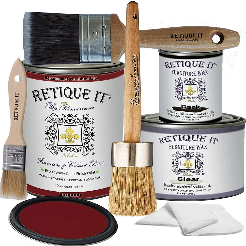 Retique It RFP-DSKit-Burgundy-2 by Renaissance Furniture Paint, Deluxe Starter Kit