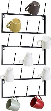 Set of 2 MyGift Vintage Scrollwork Design Wall Mounted Black Metal Mug Hook Rack