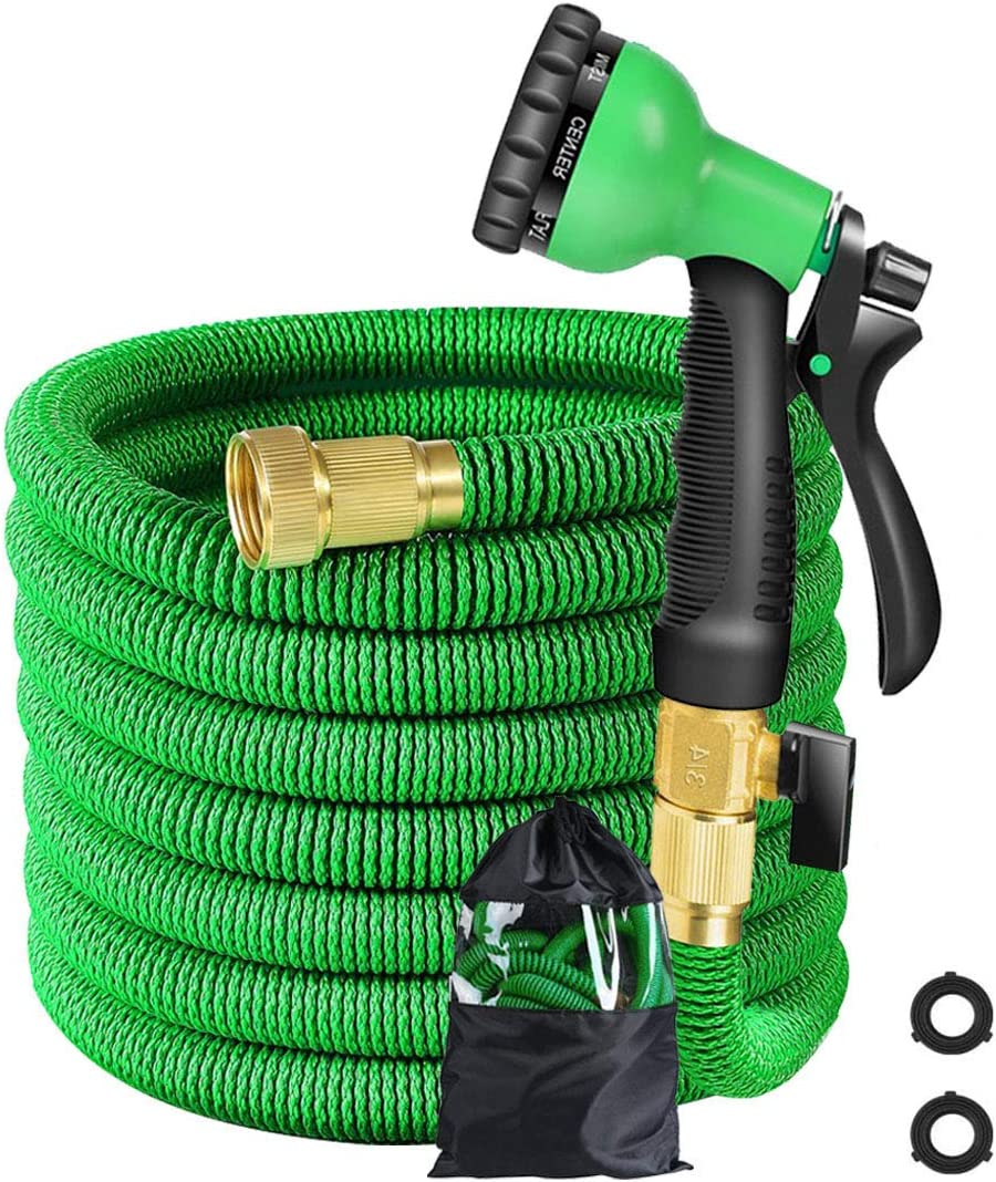 25 ft Garden Hose - Expandable Water Hose with Spray Nozzle, Solid Brass Connector, Durable Latex Core, Retractable Fabric - Flexible Expanding Gardening Hose