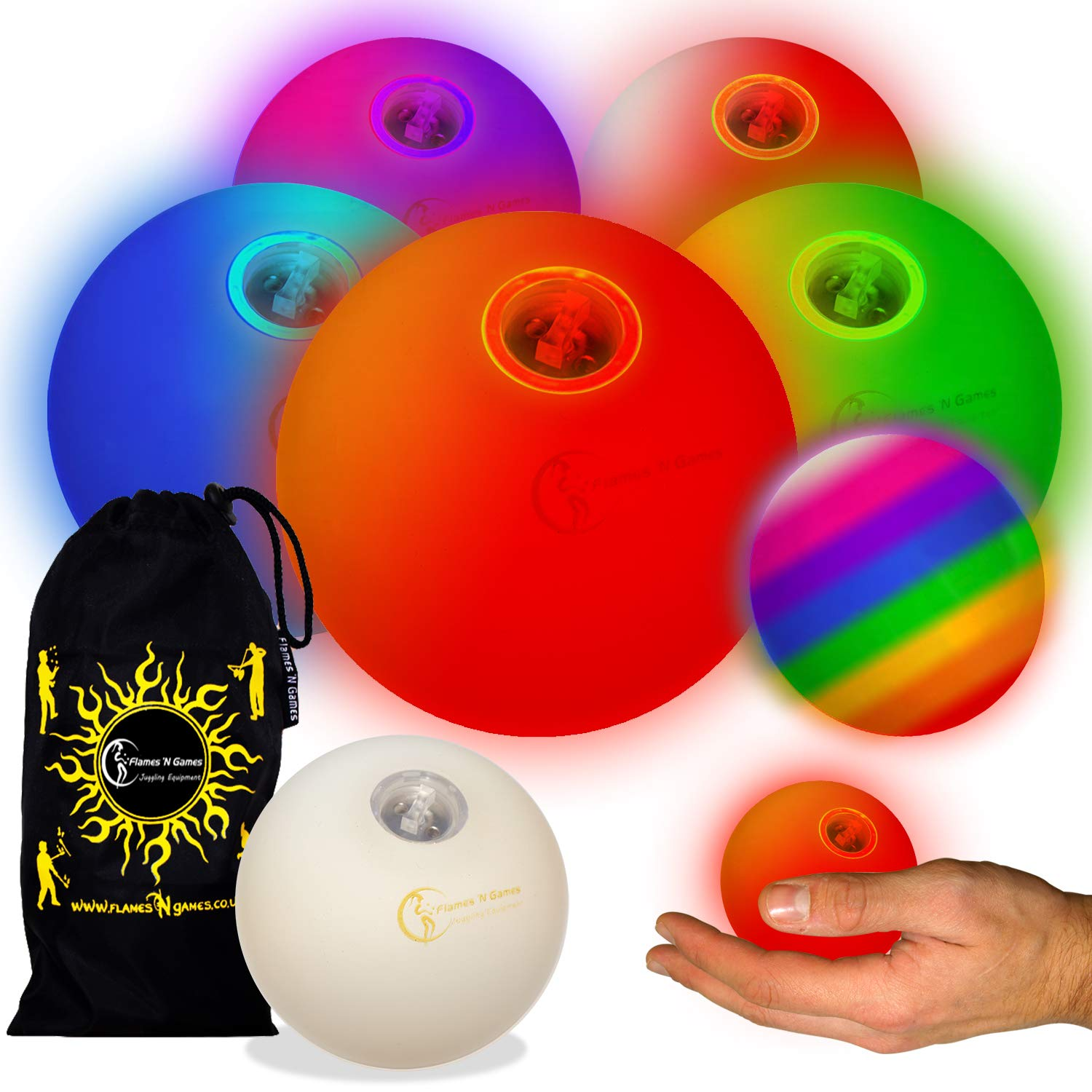 Flames N Games Pro LED Glow Juggling Balls 5X (Slow Fade Rainbow Effect) Ultra Bright Battery Powered Glow LED Juggling Ball Set with Travel Bag. (Set of 5) by Flames N Games Juggling Ball Sets (Image #1)