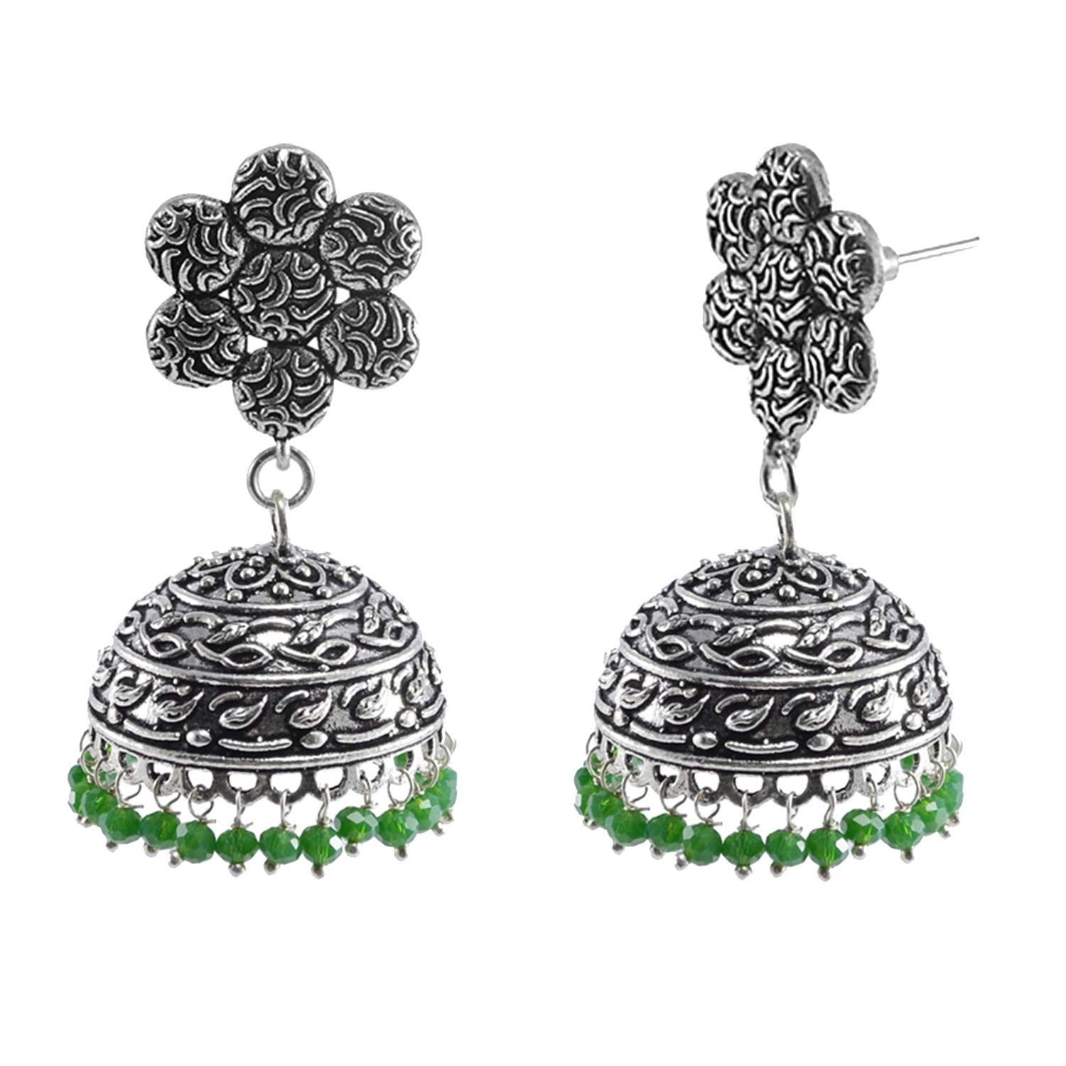 Silvesto India Jaipur Traditional Oxidized Silver Beautiful Color Fashion Handmade Drop Earring And Flower Jhumki With Small Green Crystals PG-111085
