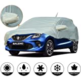 AllExtreme BN7003 Car Body Cover for Maruti Suzuki Baleno Custom Fit Dust UV Heat Resistant for Indoor Outdoor SUV Protection (Silver with Mirror)