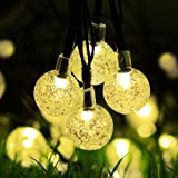 Solar String Lights Outdoor 30 LED Globe Powered Lights 6m / 20 ft , 8 Lighting Modes Crystal Ball Starry String Lights, Decoration Lights, for Gardens, Home, Party Collectible Accessories-Warm White (Crystal Ball)