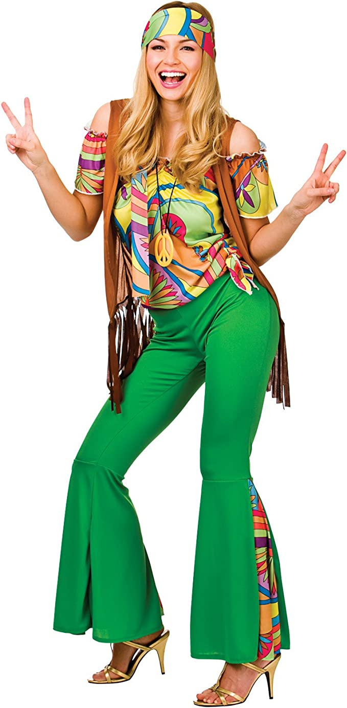 Donna 1960s Hippy Costume Willow Hippie Da Donna 1970s Costume Outfit Nuovi