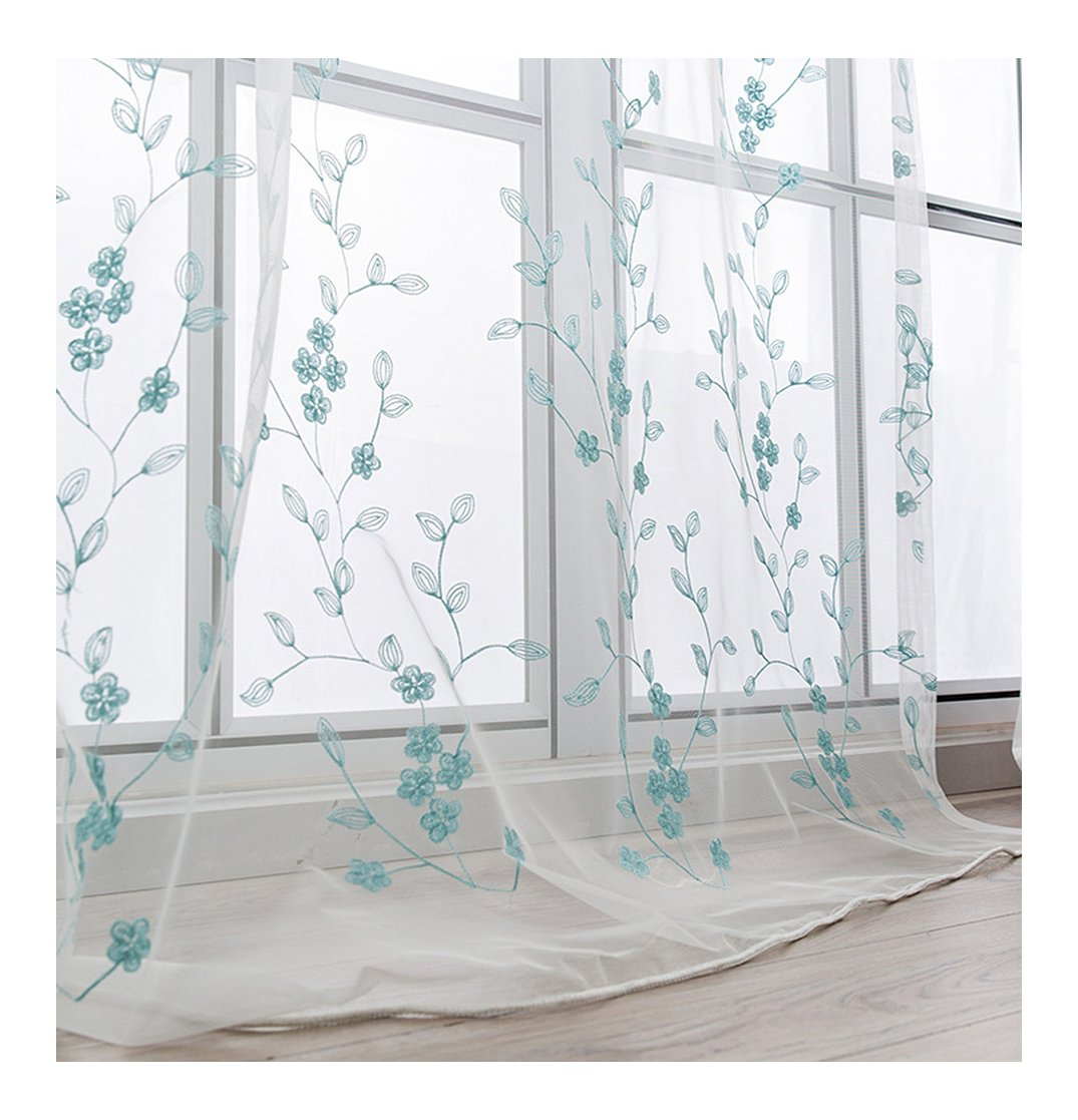 Aside Bside Pure Style Rod Pockets Plum Branch Embroidered Sheer Curtains Voile Draperies Home Treatment For Child Room Houseroom and Kitchen (1 Panel, W 52 x L 63 inch, Blue)