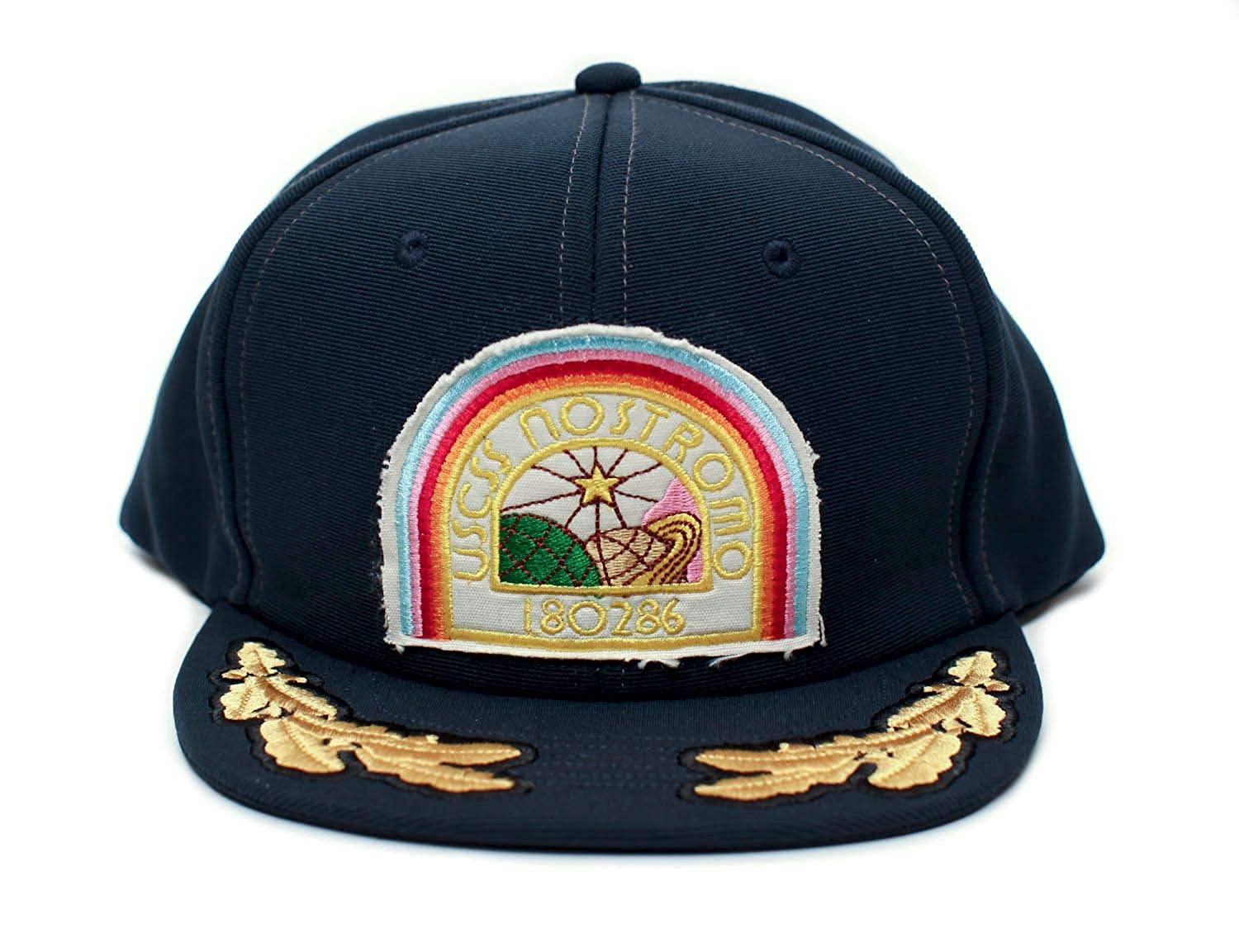 c29f2fa4059a4 Alien Nostromo Flat Bill USCSS Movie Hat Appliqué Patch Cap Unisex Adult  Navy at Amazon Men s Clothing store