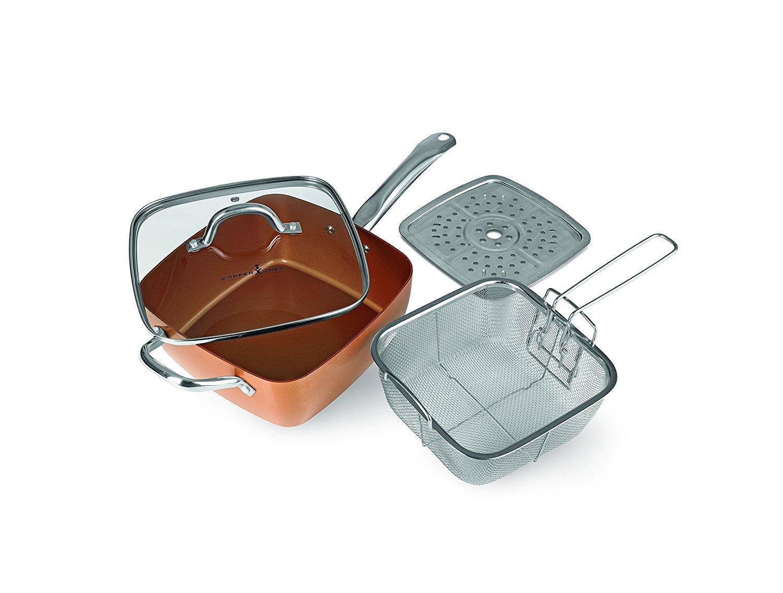 Copper Chef – Juego de sartén cuadrada de cerámica para asados, fritos y comidas al vapor (4 piezas): Amazon.es: Electrónica