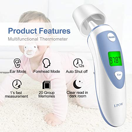 Amazon.com : LPOW Forehead and Ear Digital Medical Infrared Accurate Reading Thermometer for Baby & Adults, Fever Warning, Clinical Monitoring, ...