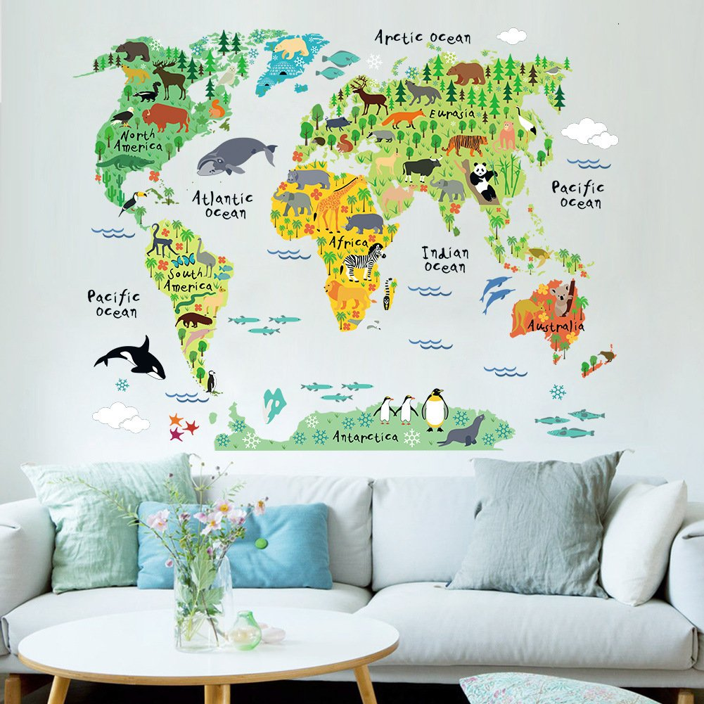 Amazon winhappyhome animal distribution world map removable amazon winhappyhome animal distribution world map removable wall art stickers for kids room nursery decor teaching decals baby amipublicfo Images