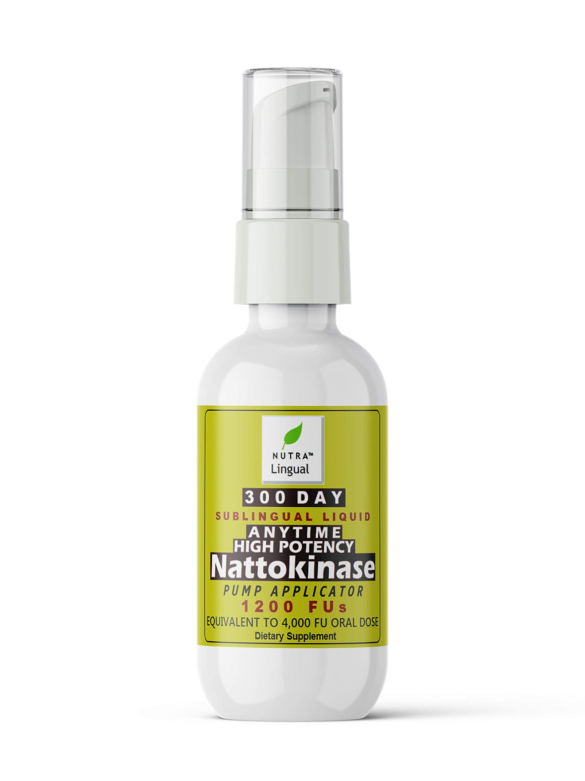 Anytime Nattokinase—High Potency—1,200 FUs (Equivalent to 4,000 FUs Oral Dose), Premium 300 Day Sublingual Liquid Supplement -TAKE Anytime, NO Fasting OR Empty Stomach Required!!