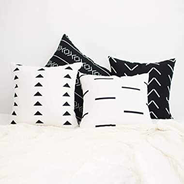 HOMFINER Mudcloth Inspired Decorative Throw Pillow Covers Set for Couch, Sofa or Bed 100% Cotton Canvas Black and Natural White 18 x 18 inch Set of 4