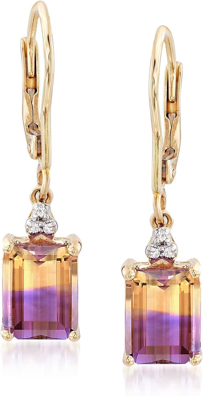 Women/'s Yellow Gold Diamond and Emerald Accent Dangle Drop Earrings