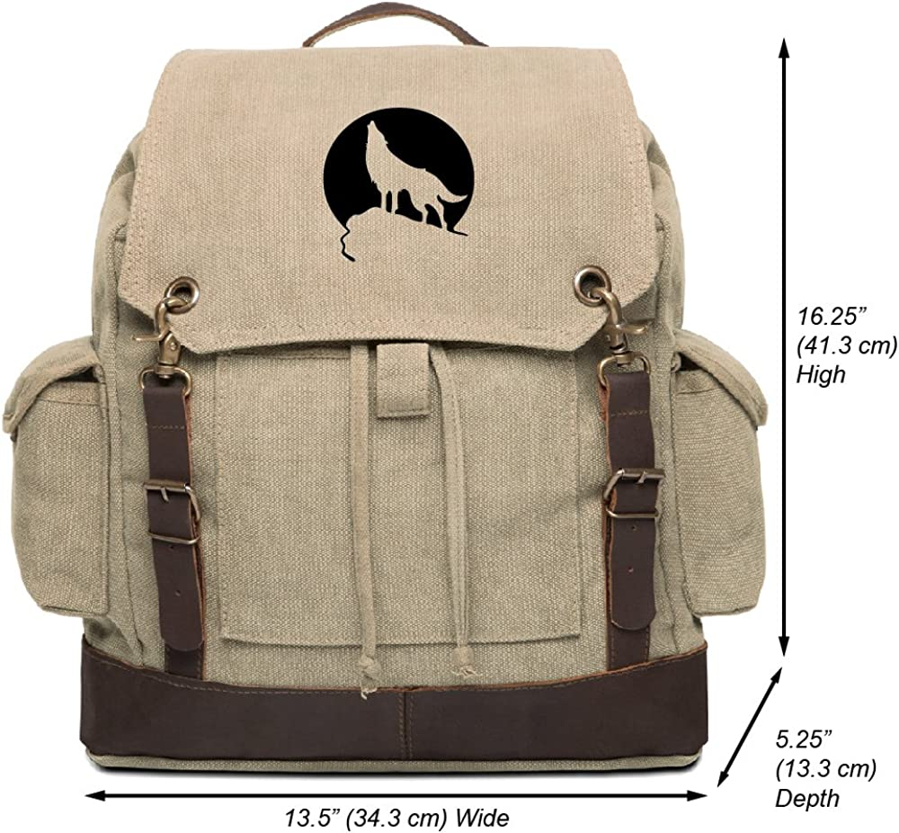 Howling Wolf Moon Vintage Canvas Rucksack Backpack with Leather Straps