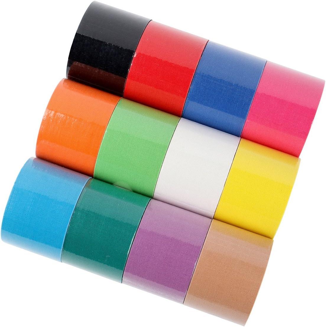 FITOP Cinta Kinesiologia 12 Rollos Sport Tape en colores de arcoíris mezclados