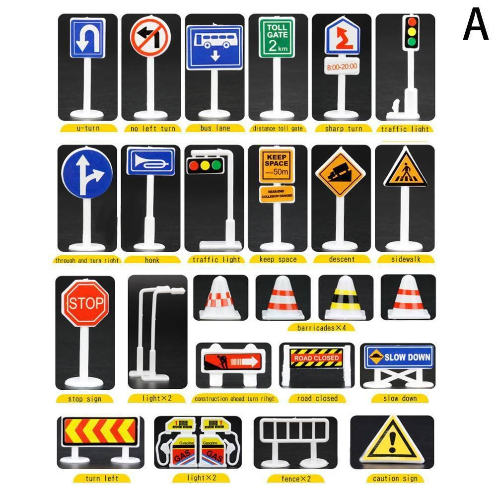 Wenini 28 Pcs Traffic Road Signs Educational Toys, Car Toy Accessories Traffic Road Signs Kids Children Play Learn Toy Game (A) by Wenini (Image #2)