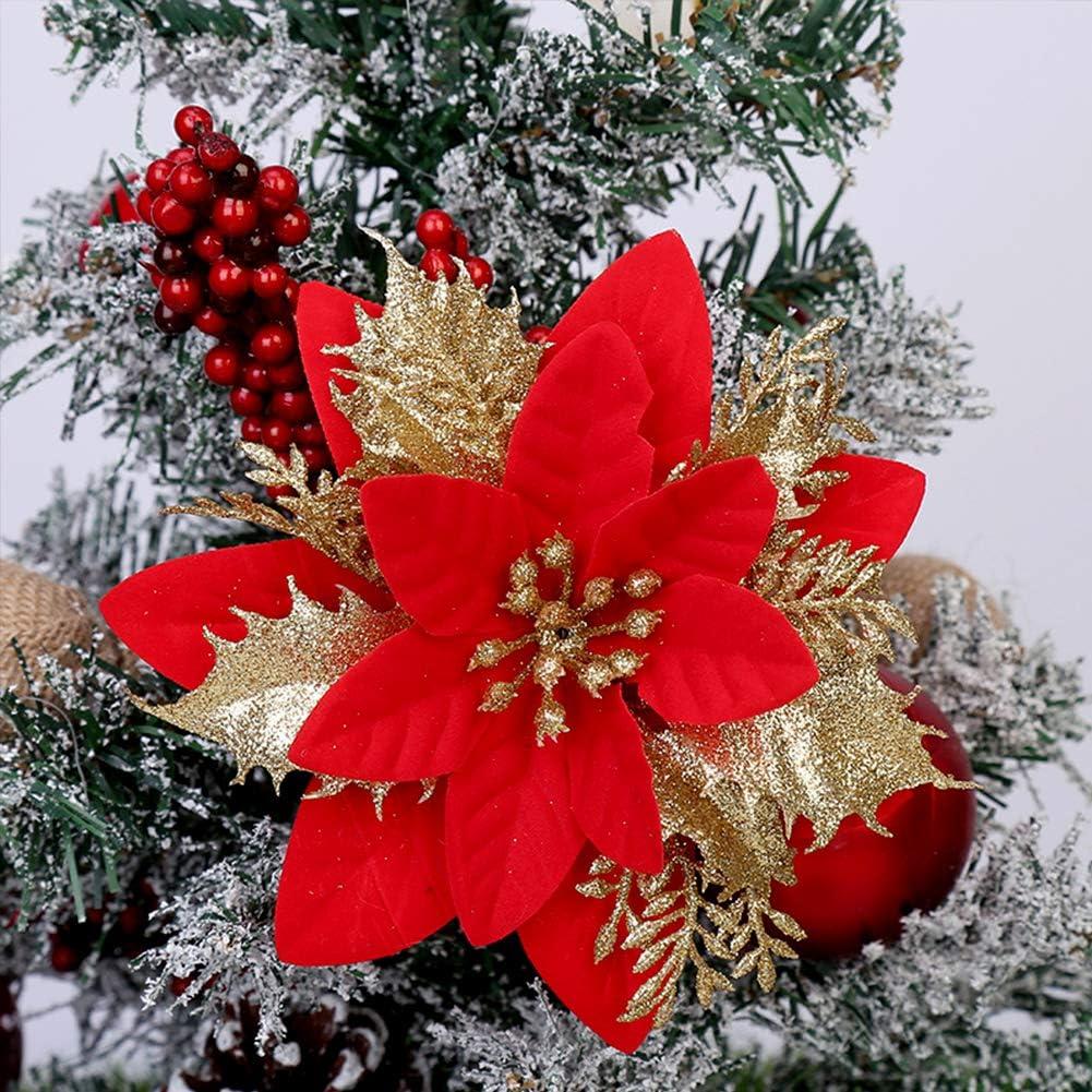 Gukasxi 24 Pezzi Fiori di Stella di Natale Decorazione di Albero di Natale Fiorellini Fiore Artificiale Stelle di Natale Glitter Stella di Natale Artificiale Stella di Natale Ornamenti