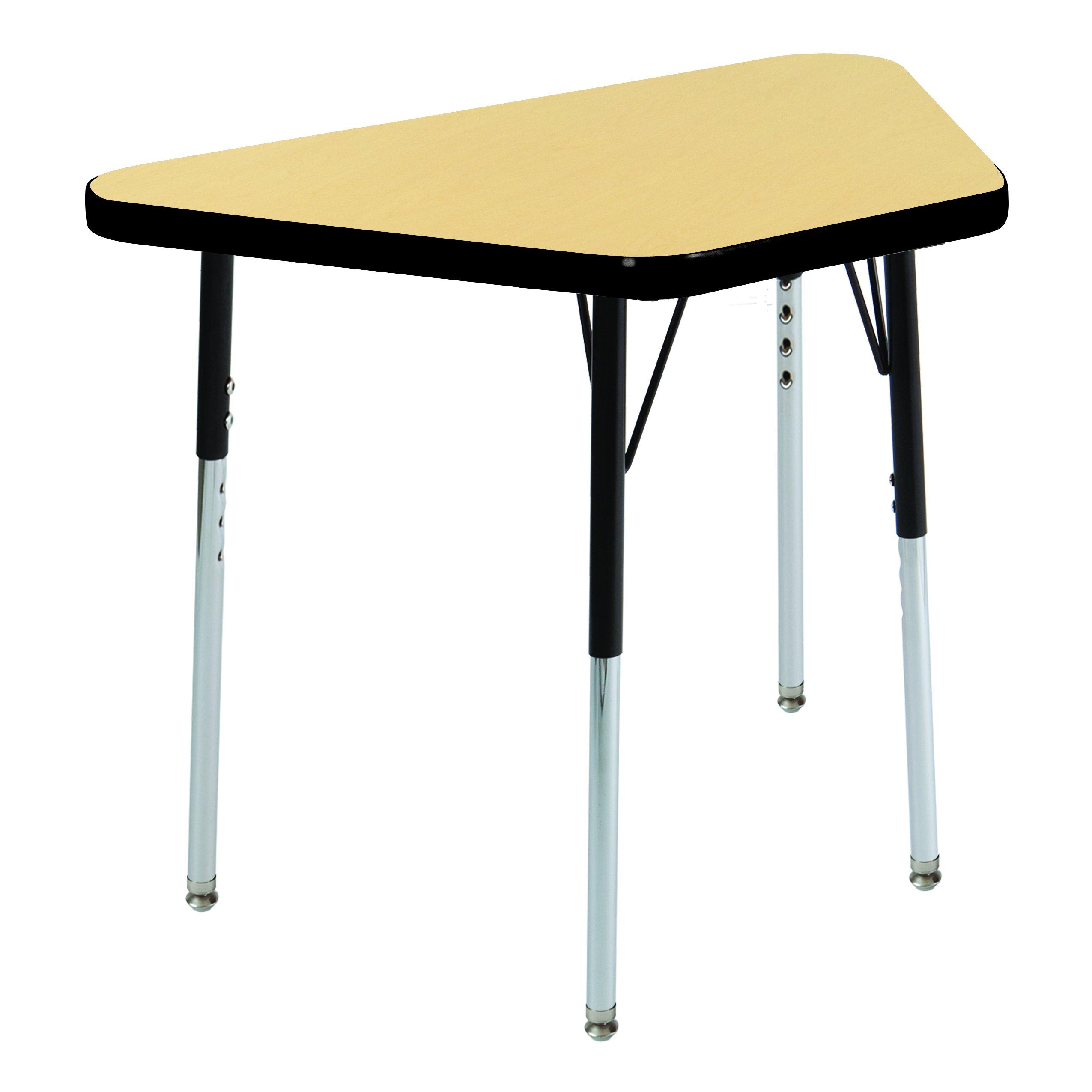ECR4Kids 18'' x 30'' Trapezoid Activity Table, Toddler Legs w/Swivel Glides (Maple Top/Black Edge/Black Legs)